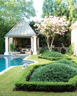 """This landscape is the perfect mix of ancient tradition and contemporary accents,"" says garden designer Marcia Weber of Marcia Weber - Gardens to Love. ""Buckhead is a traditional place and this is a southeast deciduous forest we live in, so you can't totally negate that. But if you pull in a few exotic elements that mix in with our climate, it works. It's not a modern house, nor is it an Asian house, but we've incorporated those elements with this landscape. All of this is a distillation of gardening work and travels from many parts of the globe."""