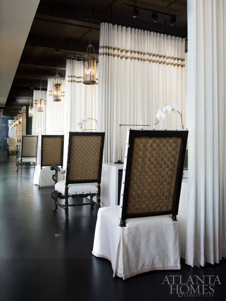 Floor to ceiling draperies fabricated by Douglass Workroom and