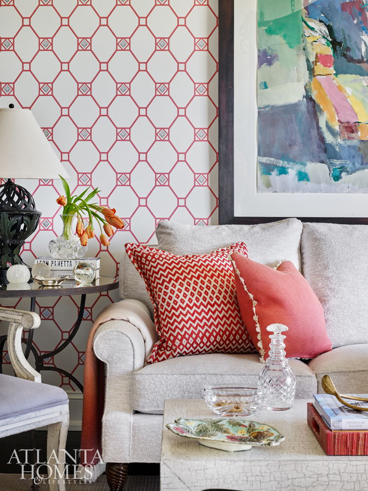 The Living Room Features A Mix Of Neutrals And Bold Color, Seen In The  Pillow Fabrics, Nina Campbell Wallcovering And Fine Art. The Energetic  Abstract Is ...