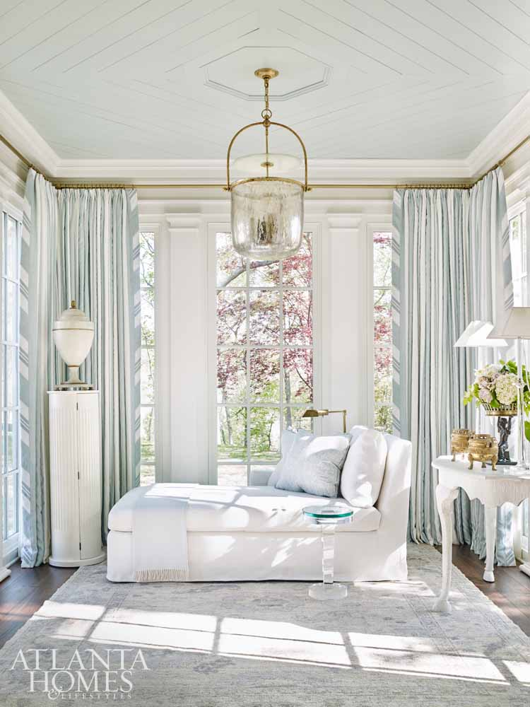 Beautiful light blue and white elegant bedroom with chaise - Southeastern Designer Showhouse